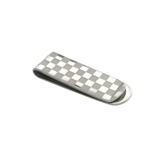 Men's High-Polish Stainless-Steel Checkerboard-Pattern Money Clip