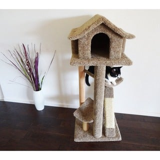 New Cat Condos Fully Assembled Large Pagoda Cat Tree/Condo with Kitty Cruiser