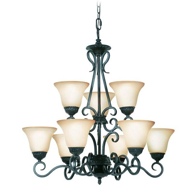 Woodbridge Lighting Jamestown 9-light Textured Black Chandelier