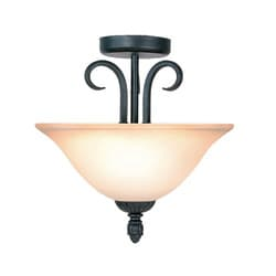 Woodbridge Lighting Jamestown 2-light Textured Black Semi Flush Mount