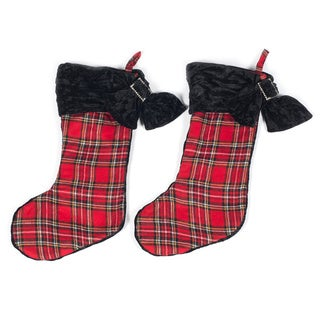 Set of Two Christmas Plaid Stocking by Selections by Chaumont