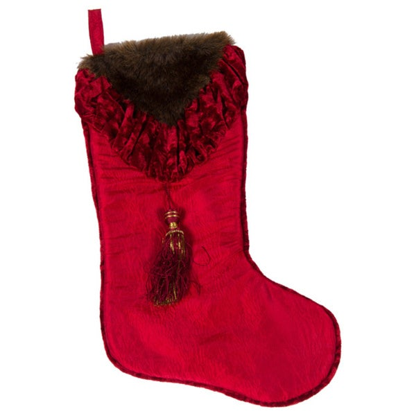 Selections by Chaumont Christmas Noel Fur Velvet Stocking