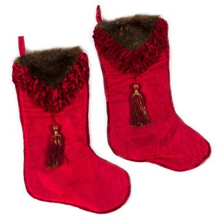 Set of Two Christmas Noel Fur Velvet Stocking by Selections by Chaumont
