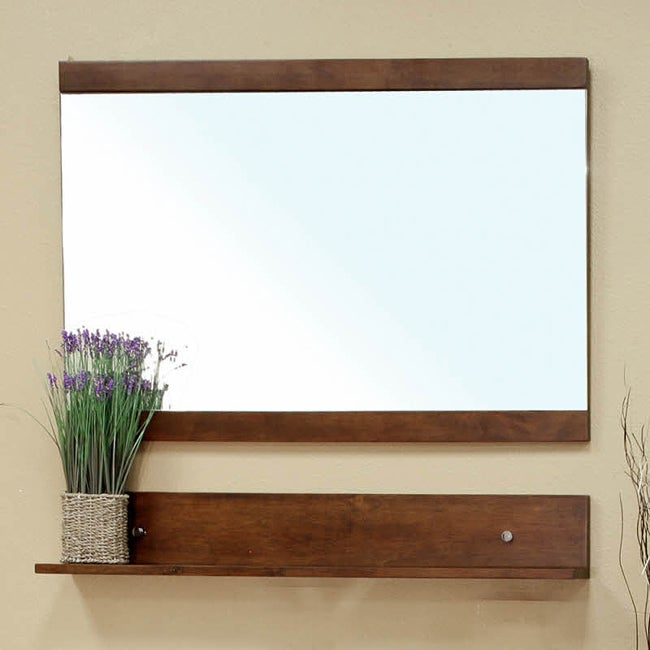 Mckenna Medium Walnut Bathroom Vanity Mirror  13902468  Overstock