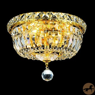 Christopher Knight Home Crystal Chandelier Gold Flush Mount Light