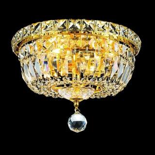 Elegant Lighting Crystal Chandelier Gold Flush Mount Light