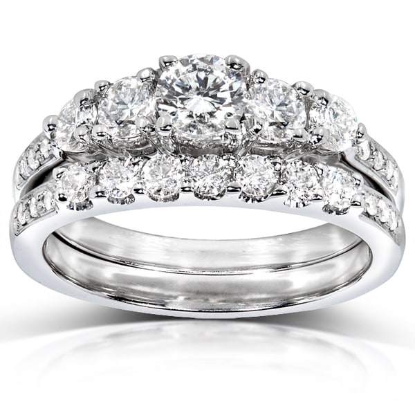 Annello 14k White Gold 1ct TDW Diamond Bridal Ring Set (H-I, I1-I2)