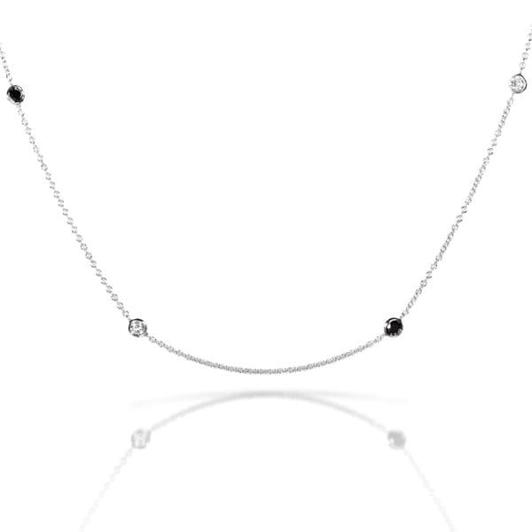 Annello 14k White Gold 1/2ct TDW Black and White Diamond Station Necklace (H-I, I1-I2)