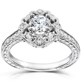 Annello 14k White Gold 1/2ct TDW Diamond Engagement Ring (H-I, I1-I2) with Bonus Item