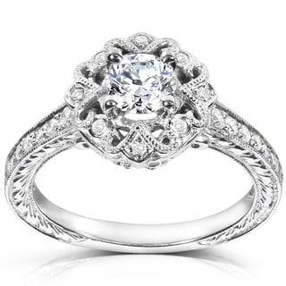 Annello 14k White Gold 1/2ct TDW Diamond Engagement Ring (H-I, I1-I2) with Bonus Item