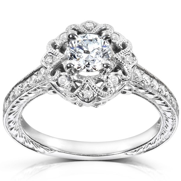 Annello 14k White Gold 1/2ct TDW Diamond Edwardian Antique Engagement Ring (H-I, I1-I2)
