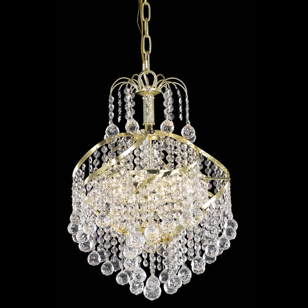 Somette Crystal Three Light Gold Chandelier Free Shipping Today Overstock Com