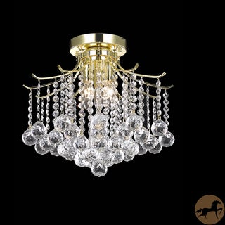 Christopher Knight Home Crystal 3-light Gold Chandelier Flush Mount