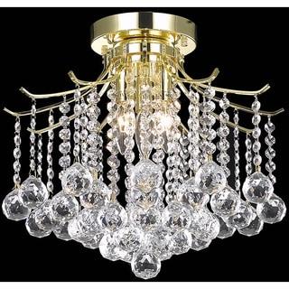 Somette Crystal 3-light Gold Chandelier Flush Mount
