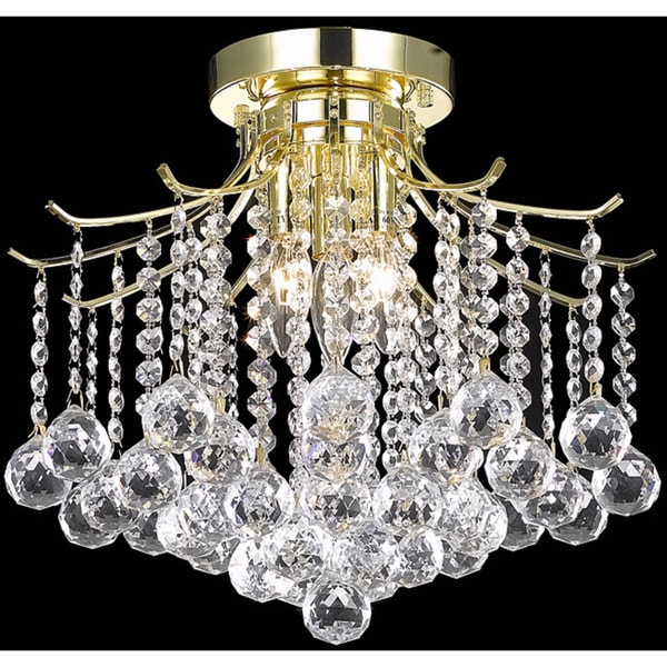 Somette Crystal 3-light Gold Chandelier Flush Mount