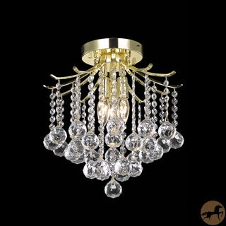 Christopher Knight Home Contemporary Crystal Three-Light Gold Chandelier