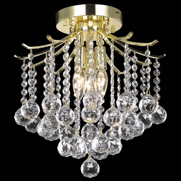 Somette Contemporary Crystal Three-Light Gold Chandelier