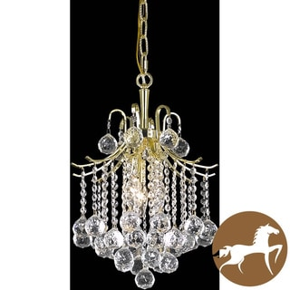 Christopher Knight Modern Home Crystal Three-Light Gold Chandelier