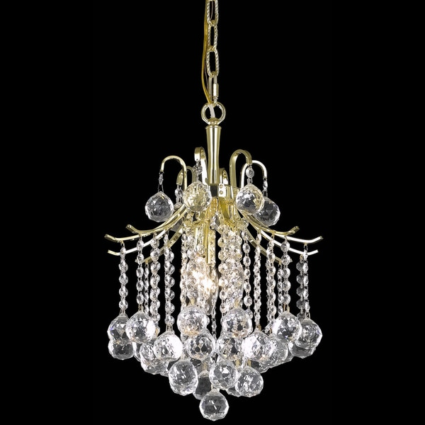Somette Crystal Three-Light Gold Chandelier