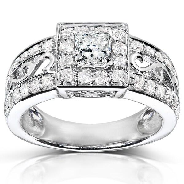 Annello 14k White Gold 1ct TDW Swirl Princess Diamond Ring (H-I, I1-I2)