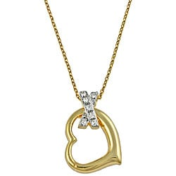 Gold over Sterling Silver Cubic Zirconia 'X' Heart Necklace