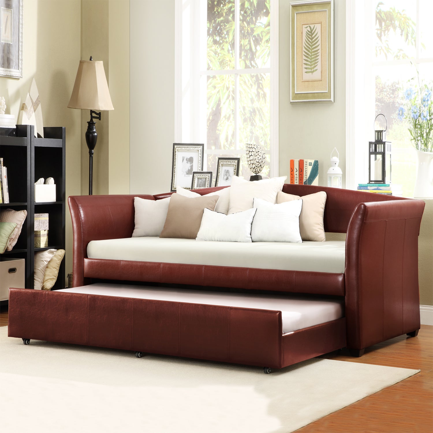 TRIBECCA HOME Deco Wine Red Faux Leather Daybed with Trundle at Sears.com