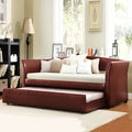 TRIBECCA HOME Deco Wine Red Faux Leather Daybed with Trundle