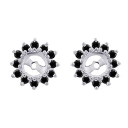 14k White Gold 1/2ct TDW Black Diamond Earring Jackets