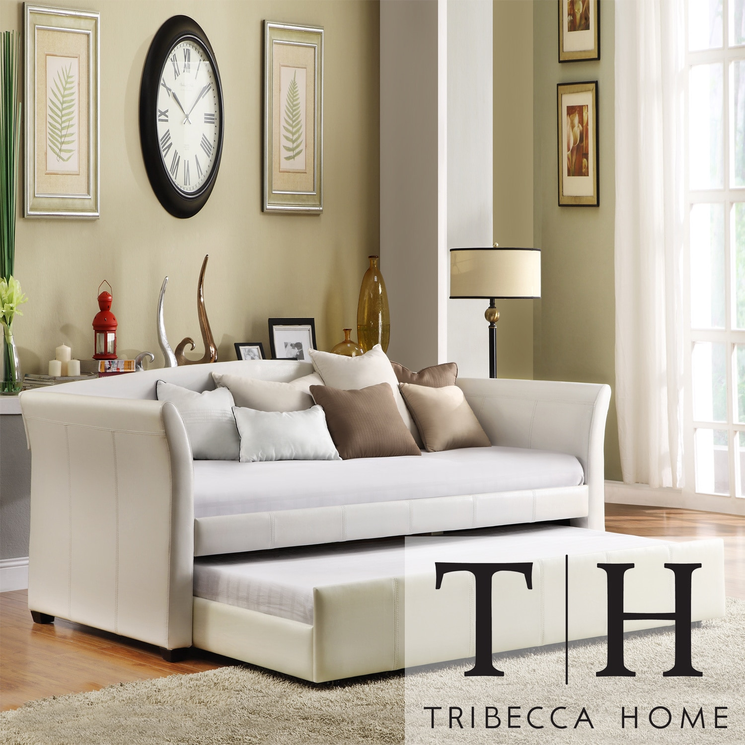 TRIBECCA HOME Deco White Faux Leather Modern Daybed with Trundle at Sears.com