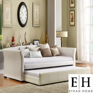 ETHAN HOME Deco White Faux Leather Modern Daybed with Trundle