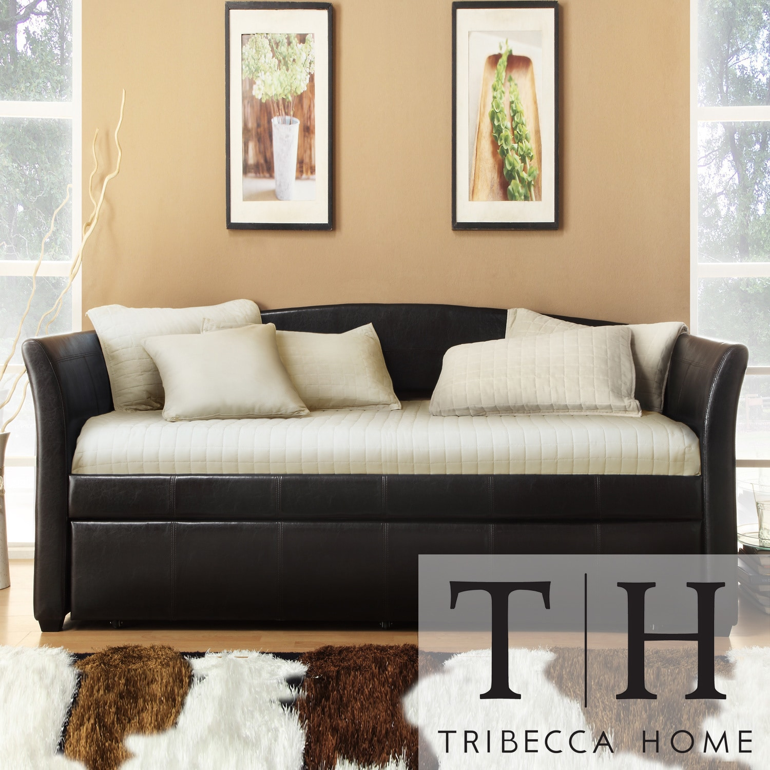 TRIBECCA HOME Deco Dark Brown Faux Leather Daybed with Trundle at Sears.com