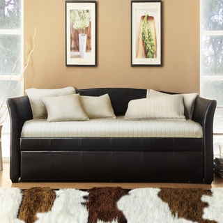 TRIBECCA HOME Deco Dark Brown Faux Leather Daybed with Trundle