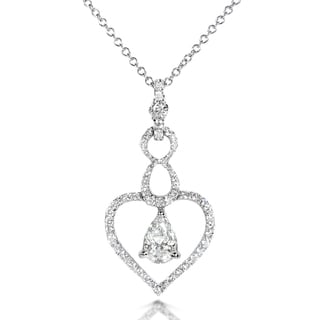 Annello 14k White Gold 3/4ct TDW Floating Diamond Necklace (G-H, I1-I2)