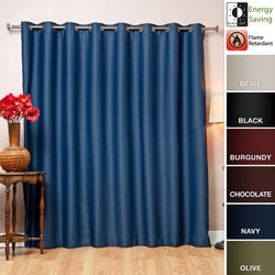 Wide-Width Fire-Retardant Grommet-Style 84-Inch Blackout Curtain Panel