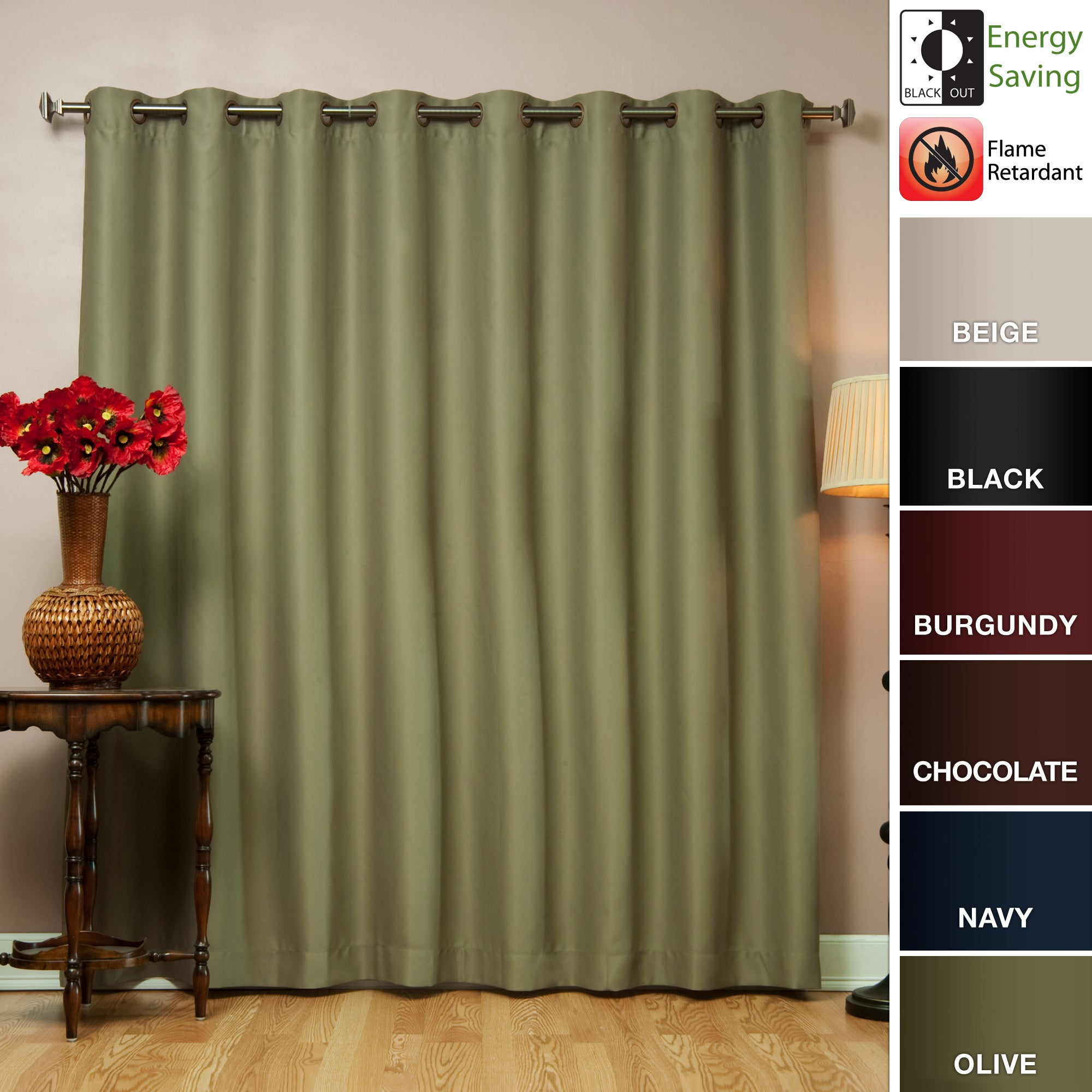 Wide-Width Fire-Retardant 95-Inch Polyester Blackout Curtain Panel at Sears.com