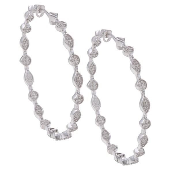 Sterling Silver Diamond Accent Hoop Earrings