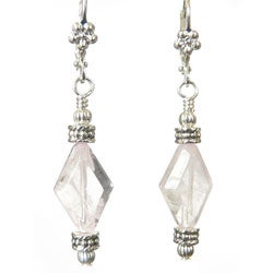 Silvertone Rose Quartz 'Marquesa' Earrings