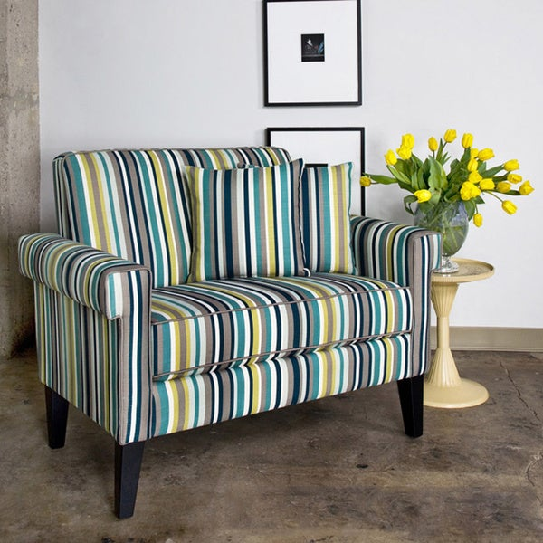 angelo:HOME Ennis Shoreline Stripe Blue Loveseat