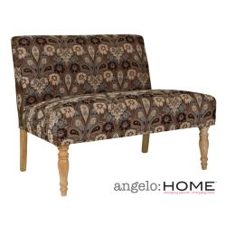 angelo:HOME Bradstreet Vintage Brown and Blue Floral Garden Loveseat