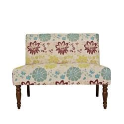 angelo:HOME Bradstreet Spring Sandstone Beige and Blue Floral Armless Loveseat