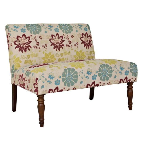 Better Living Bradstreet Spring Sandstone Beige and Blue Floral Armless Loveseat