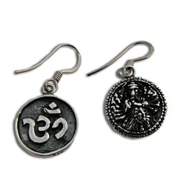 Sterling Silver Double-sided Ganesh Om Coin Earrings