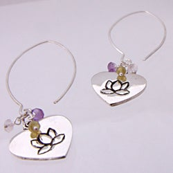Silver Amethyst, Peridot and Quartz Lotus Love Earrings (India)