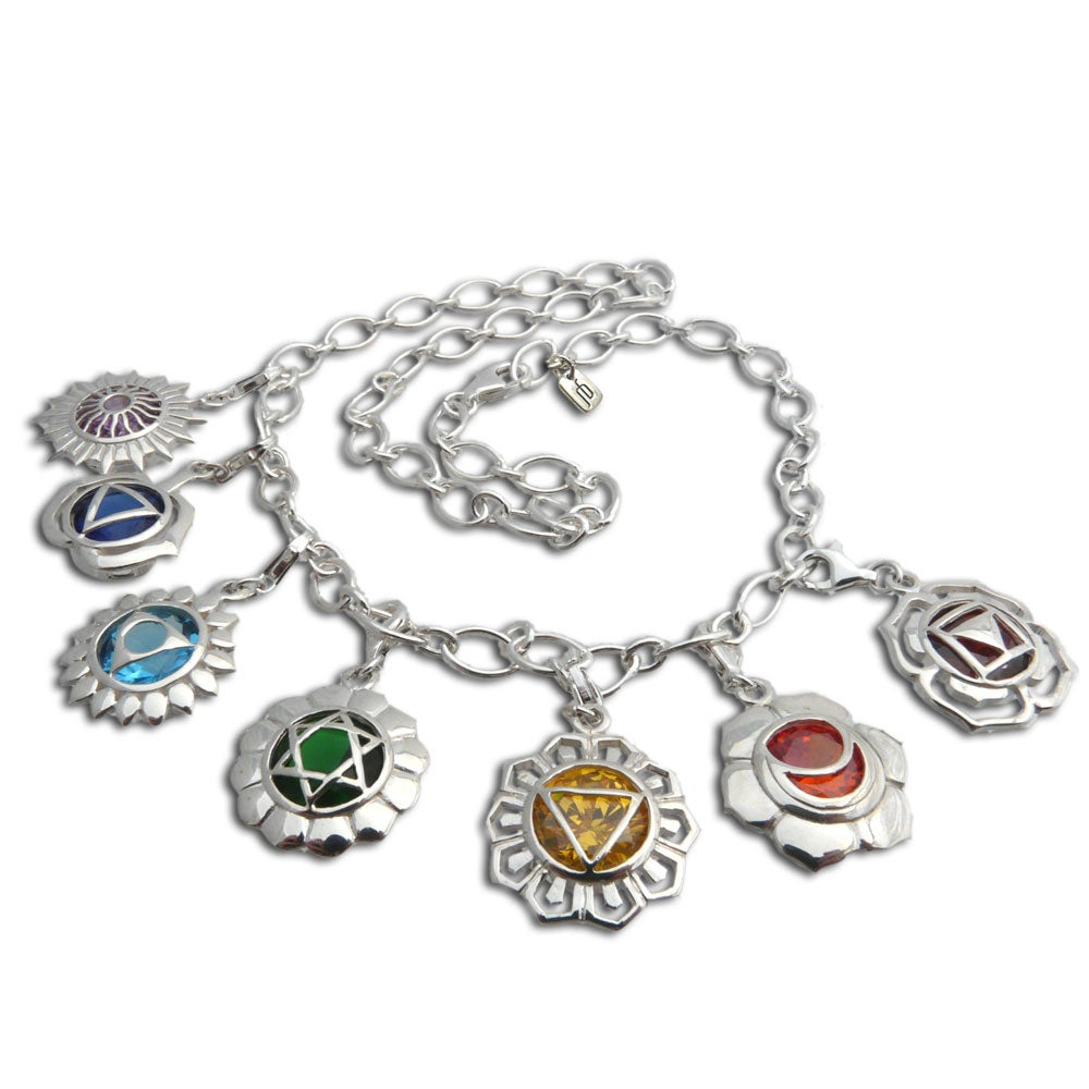 Sterling Silver Cubic Zirconia 7 Chakra Charm Necklace (Thailand)