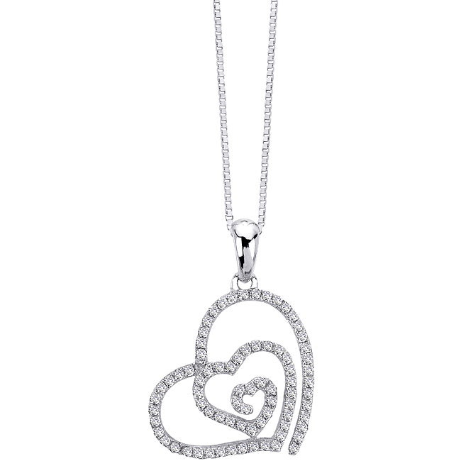 Auriya 14k White Gold 1/4ct TDW Diamond Swirl Heart Necklace (G-H, I1-I2)
