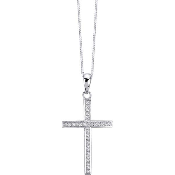Auriya 14k White Gold 1/6ct TDW Diamond Cross Necklace (G-H, I1-I2)