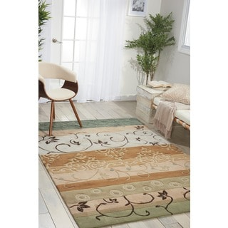 Nourison Hand-tufted Contours Green Area Rug (5' x 7'6)