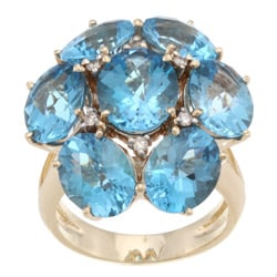 Kabella 14k Yellow Gold Blue Topaz and 1/10ct TDW Diamond Ring (J-K, I1-I2)
