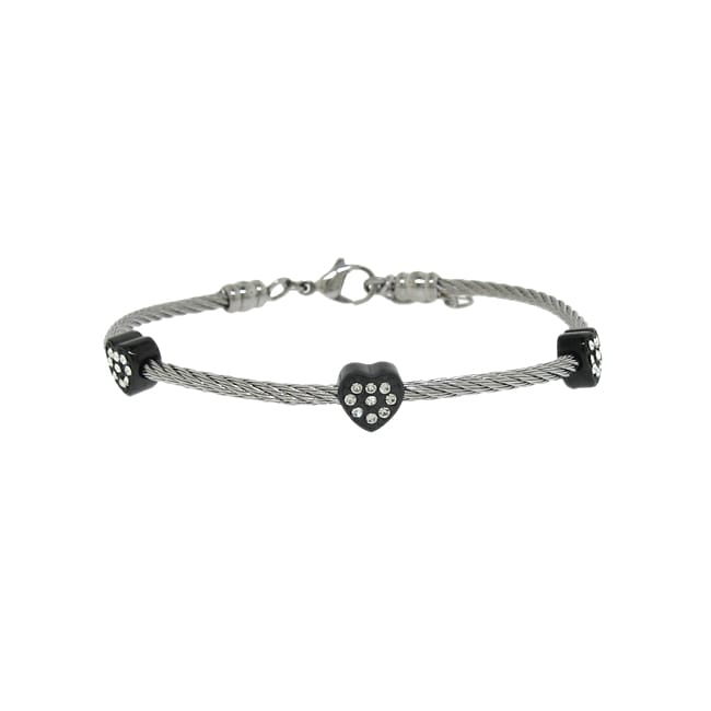 Two-tone Stainless Steel Twisted Wire Crystal Heart Bracelet