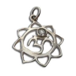 Sterling Silver Cubic Zirconia Om Lotus Pendant (India)